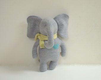 Handmade Elephant stuffed small Grey Merino wool elephant doll upcycled sweater eco baby gift soft  plush elephant bubynoa Elifants &Rhino