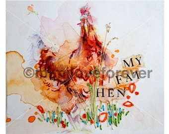 Chicken Art. Hen Watercolour Painting. Hand embroidery. Original Unique artwork. Framed.