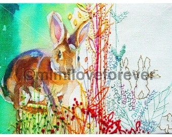 Rabbit Art Print. Bunny Lover Art. Rabbit Watercolour Print. Rabbit Wall Art.