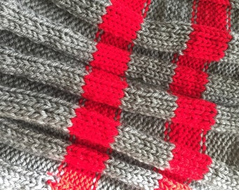 Sport Stripe Circle Scarf in Scarlet and Gray
