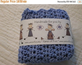 20% OFF WEEKEND SALE Crocheted Wash/Dishcloths Set of 3  Country Blue