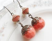 50% Off Sale, Orange Boho, Vintage Bead Earrings