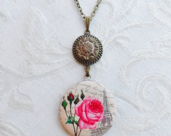 50% Off Antique Button Locket Necklace, Pink Roses in Paris, Eiffel Tower, Victorian Image