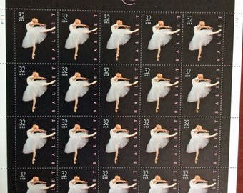 Mint never-hinged pane of 1998 American Ballet 32 cents postage stamps - Scott 3237