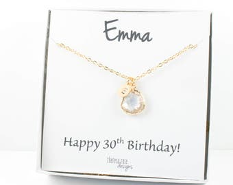 April Birthstone Personalized Crystal Gold Necklace With Custom Birthday Jewelry Card, April Birthstone Jewelry, Personalized Gold Necklace