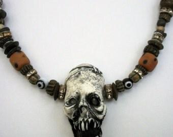 Frankenstein,Halloween, Voodoo, Zombie, Shrunken Head,Bohemian Zombie Head Necklace