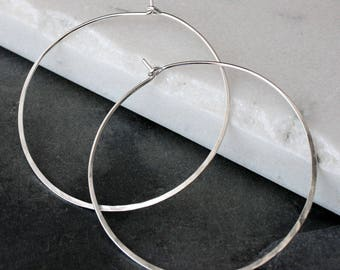 Large Sterling Silver Hoops, Round Classic Eternity Earrings