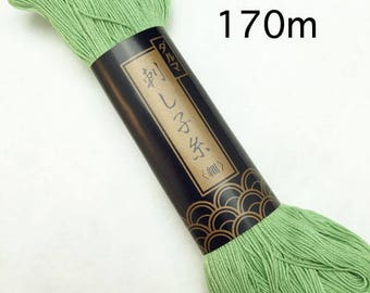 Yokota #12 LIGHT GREEN 170 meter skein Japanese Cotton Sashiko thread