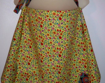Breast Feeding Nursing Cover Up, Adjustable Strap, Pocket, Yellow with Multi Flowers