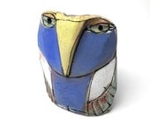 """Owl art, ceramic owl sculpture, whimsical, colorful owl figurine, 4"""" tall, """"Owl Person Centered in Blue. Whoooo!"""""""