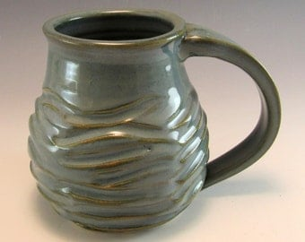 Hand Made Pottery Wave Mug/Ocean Pottery Coffee Mug/Cup  Holds 12 Ounces