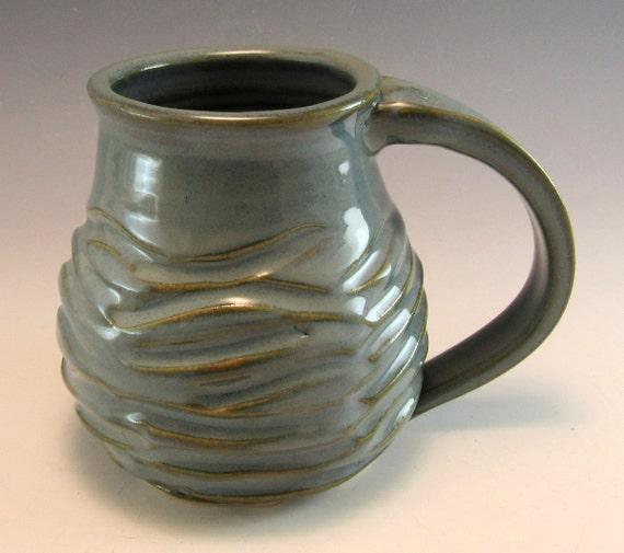 Hand Made Pottery Wave Mug Ocean Pottery Coffee Mug Cup Holds