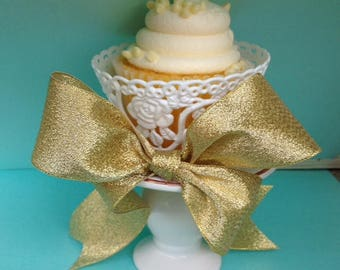 Birthday Decoration Gold and Cream Ceramic Cupcake Stand for Birthday Party
