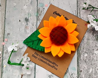 Sunflower with Leaf hair Clip,Handmade no slip felt Sunflower Snap clip, Sunflowers barrette
