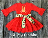 Christmas Personalized Holiday Girl Dress, Polka Dot Christmas Dress, Red Green Gold Christmas Dress, Personalized Christmas Holiday Dress