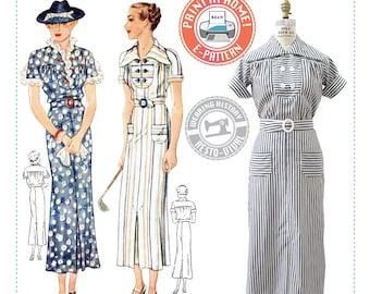E-PATTERN-Mid 1930's Gina Dress Pattern- 1930s 30s- Wearing History PDF Vintage Sewing Pattern