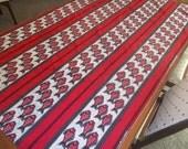 African Sotiba Simpafric Dakar African fabric runner wrap Fish print red black and white