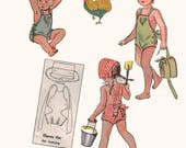 Vintage 1940s Child's Playsuit and Bonnet Sewing Pattern Simplicity 1990 Romper Pattern / Play Suit Pattern Size 6 Mos