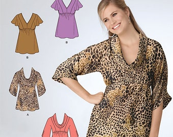 Its so Easy Blouse with flutter sleeves, Cowl Neckline Simplciity 2221 Average and Plus size 10-18 UNCUT