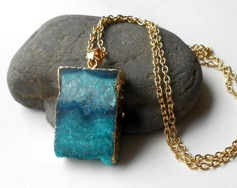 Teal Agate Druzy Necklace, Long Gold Pendant Necklace, Raw Crystal Necklace, Boho Jewelry
