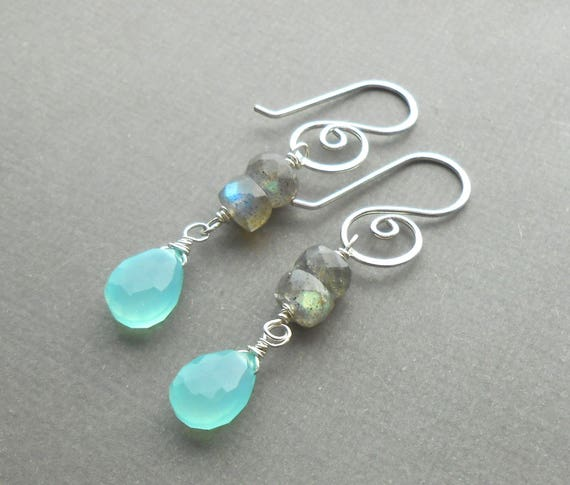 Sterling Silver Gemstone Drop Earrings with Handmade Spiral Ear Wires