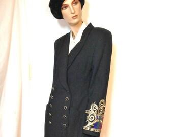 80s Steampunk Dress Size 6 Iconic Wrap Dress Vintage 80s by Kasper ASL