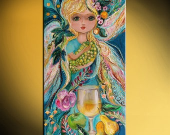 Fairies of wine - Chardonnay signed fantasy art print based on big blue eyed girl original paining Green red yellow rose flowers butterflies