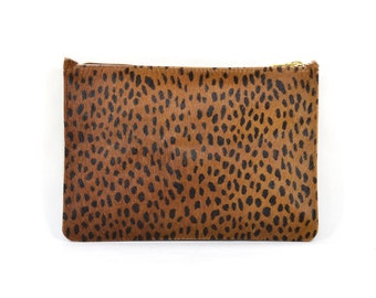 Coralie - Handmade Leopard Print Hair On Hide Leather Clutch Bag Zip Pouch Purse SS16