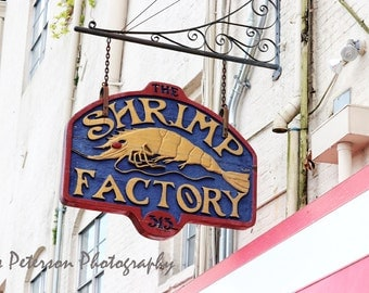 Old  Savannah Photo Print, Historic Savannah Riverfront Building Photos, Abstract Shrimp Factory Sign Art, Gray Red Blue Pink Home Decor,