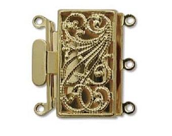 Three Strand Gold Tone Filigree Push Pull Box Clasp - Multi-Strand Clasp