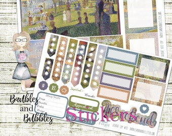 Seurat Sunday in the Park Artist weekly planner kit, designer themed, planning, classic happy planner, post impressionism, classic art