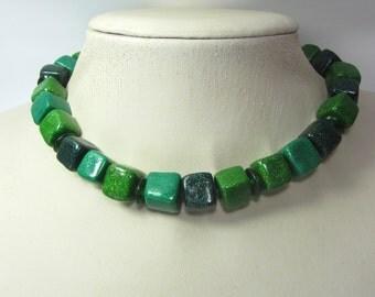 Malachite Emerald Green Glitter Polymer Clay Cube Beads Necklace