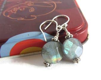 Labradorite Earrings, Earrings Chic Boho, Earrings Gemstone Blue, Blue Flash, Labradorite Blue Silver, Earrings Dainty Blue