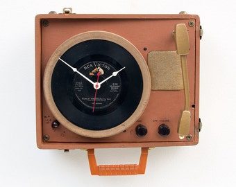 Record player clock, record album clock, music lover clock, Art Clock, upcycled large wall clock, vintage, repurposed Vintage antique clock