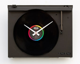 music lover clock, record album clock, Record player clock, Art Clock, upcycled large wall clock, vintage, Recycled Technics Turntable Clock