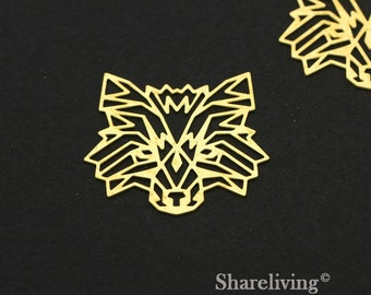 Exclusive - 4pcs Raw Brass Lion Charm / Pendant, Geometry Animal, Fit For Necklace, Earring, Brooch - TG290