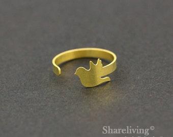 2pcs Raw Brass Pigeon Ring, Adjustable Bird Brass Rings - TR025