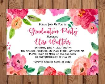 Floral Graduation Invitation - College Graduation Invitation - High School Graduation Invite - Watercolor Flower Invitation - Class of 2017