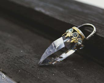 Reflection Dagger Pendant // Swarovski and Sterling Silver Brass, Mixed Metal, by BellaLili, Welded Silversmith