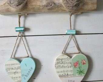 Driftwood wall hanging,  Heart wall decor, Heart quote, Word art, wood decor, Driftwood decor, Shabby Chic,  Cottage chic, rustic wall art