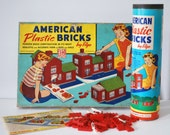 Elgo American Bricks, 1940s 1950s Building Set, Toy Plastic Blocks, 900+ Pieces, Sets No. 715, 60/2-P, House Building Set, Retro Collectible