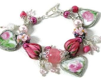 Broken China Bracelet - Vintage Charm Bracelet - Charm Bracelet - Handmade Bracelet - FREE  Handmade Greeting Card
