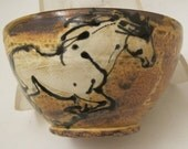 Bowl with  white horses rustic slip trailed pottery
