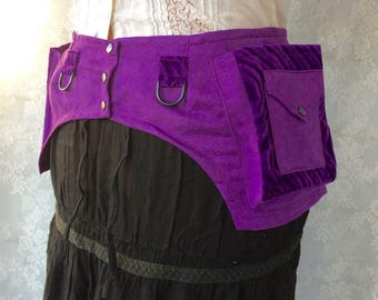 Purple festival belt - desert festival utility belt - steampunk pocket belt - womens utility belt - fancy festival belt - Medium