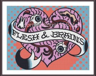 Flesh and Brains zombie tattoo pop art cross stitch pattern - Licensed Mitch O'Connell retro art