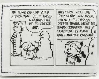 Sewn Comic Book Wallet - Calvin and Hobbes - Snowmen