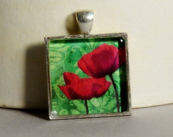 Vintage Flower Collage Pendant - Flower Pendant