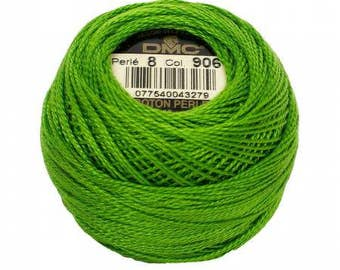 DMC Pearl / Perle Cotton Thread Balls Size 8 Medium Parrot Green 906