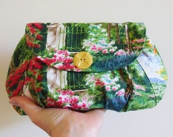 Clutch purse in Monet's garden print - ready to ship