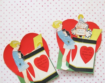 Pop Goes the Question...Fun Pair of Vintage 1930s Matching Valentines